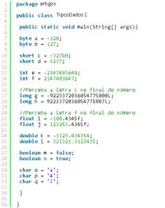Exemplos de Dados em Java